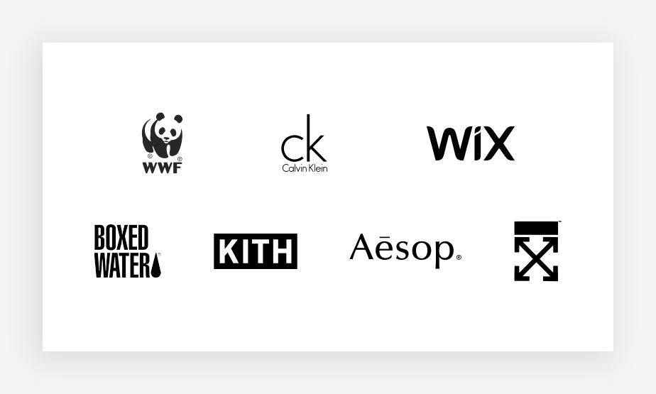 Voorbeelden van beroemde zwart-witte logokleuren