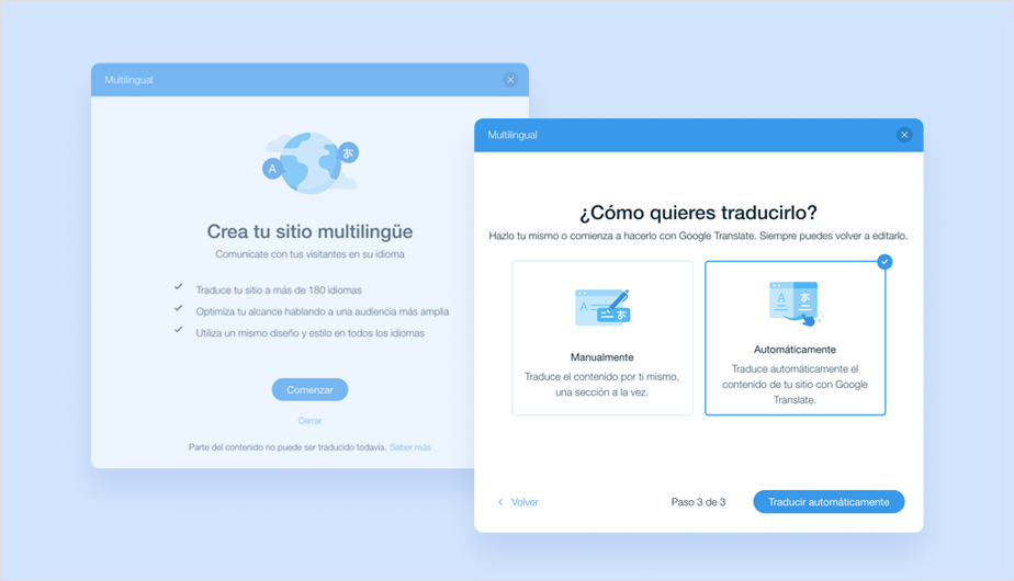 Traducción automática de Wix Multilingual