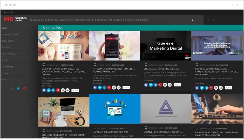 Página de inicio del Blog de Marketing Digital