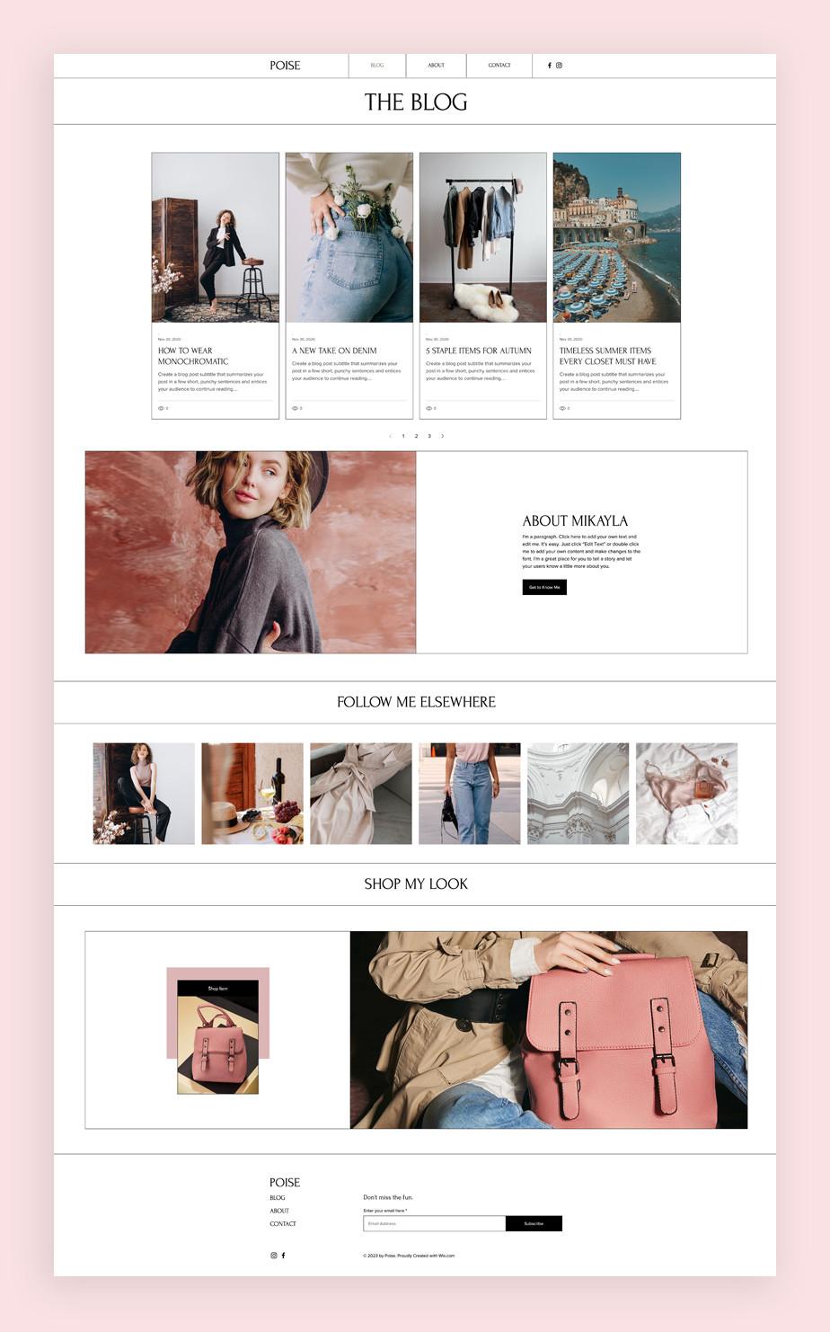 Blog Template von Wix für einen Modeblog