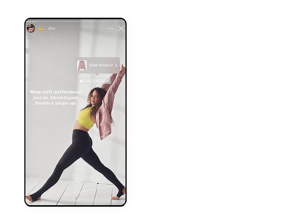 인스타그램 스토리에 쇼핑 스티커를 첨부한 이미지
