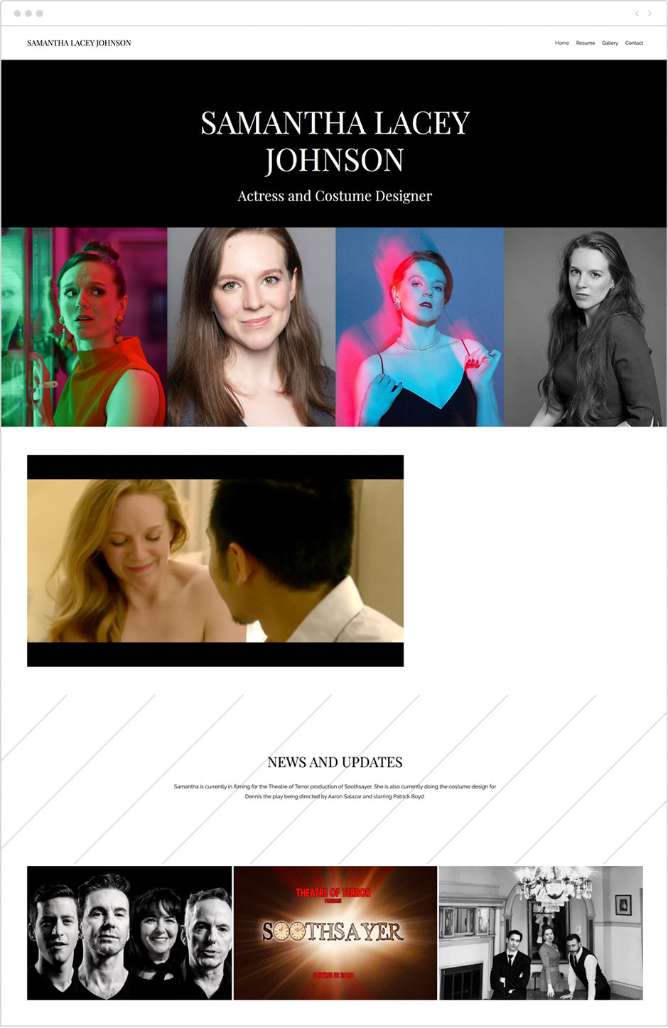 Actor website by Samantha Lacey Johnson