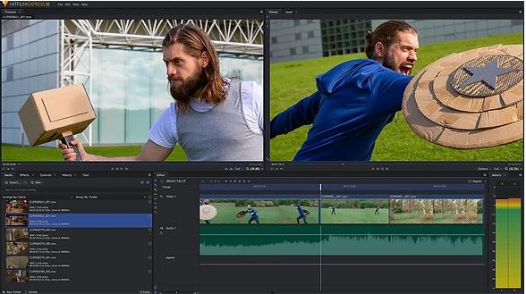 Interface des Videobearbeitungsprogramms von HitFilm Express