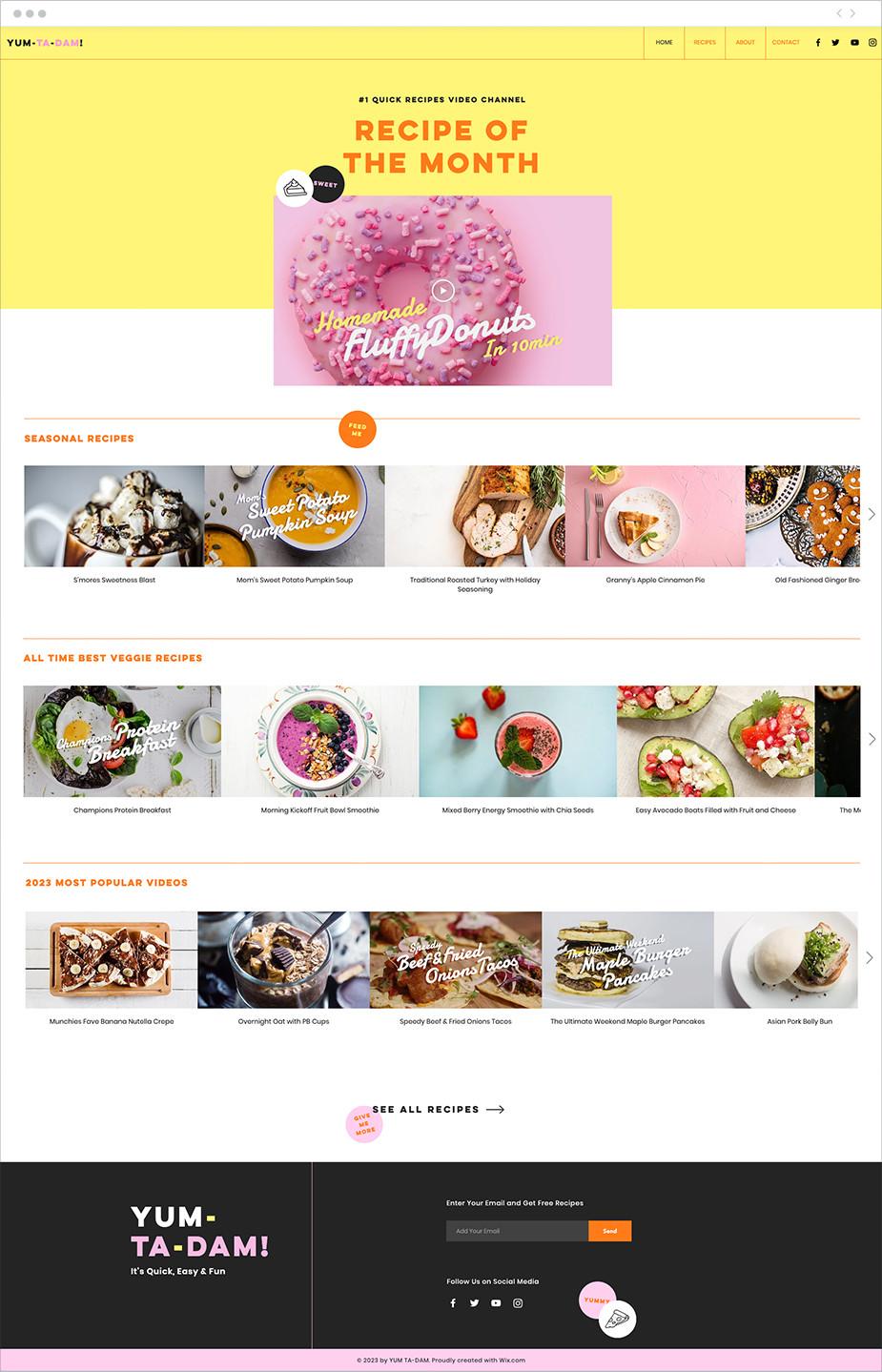 Template sito web di ricette online