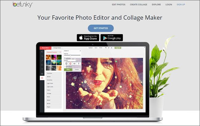 Онлайн-редактор изображений BeFunky.