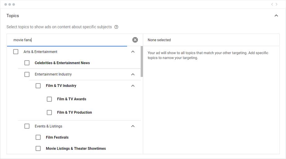 Google AdWords Campaign Ad Group Topics