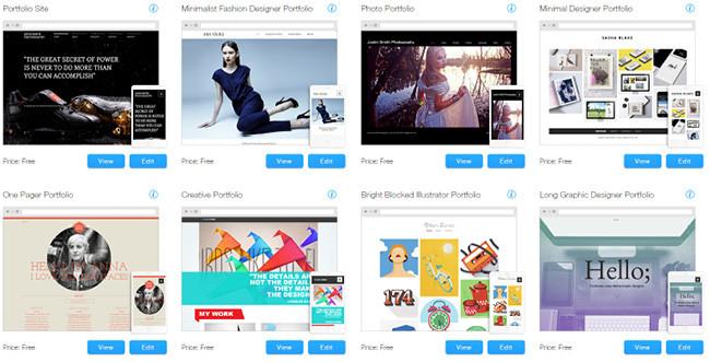 Шаблоны Wix для дизайнерского портфолио