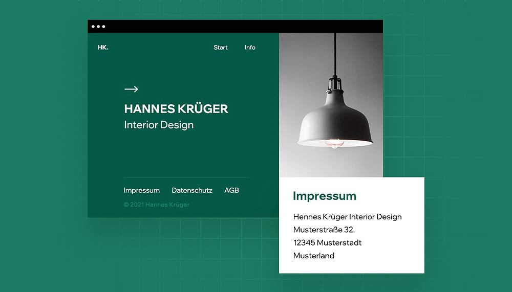 Screenshot einer Website mit Impressum als Beispiel für Impressumspflicht