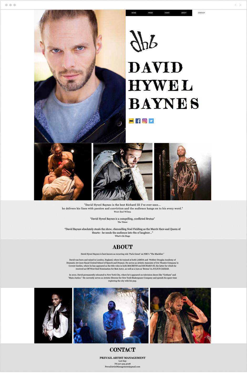 Actor website by David Hywel Baynes