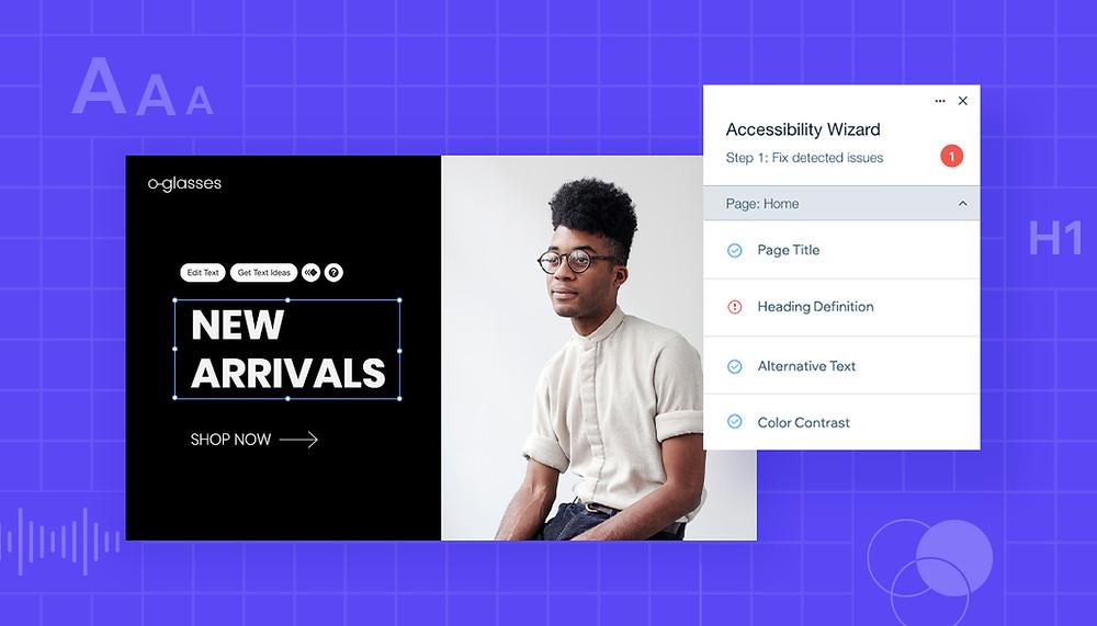 site internet en cours de modification avec l'assistant accessibilité