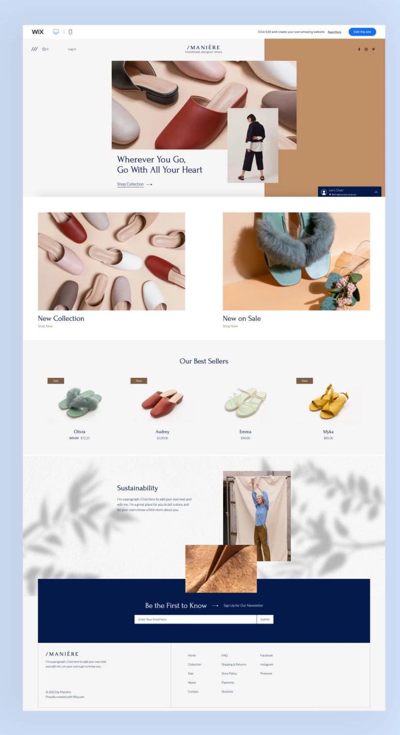 web sitesi örnekleri: ayakkabı mağazası şablonu