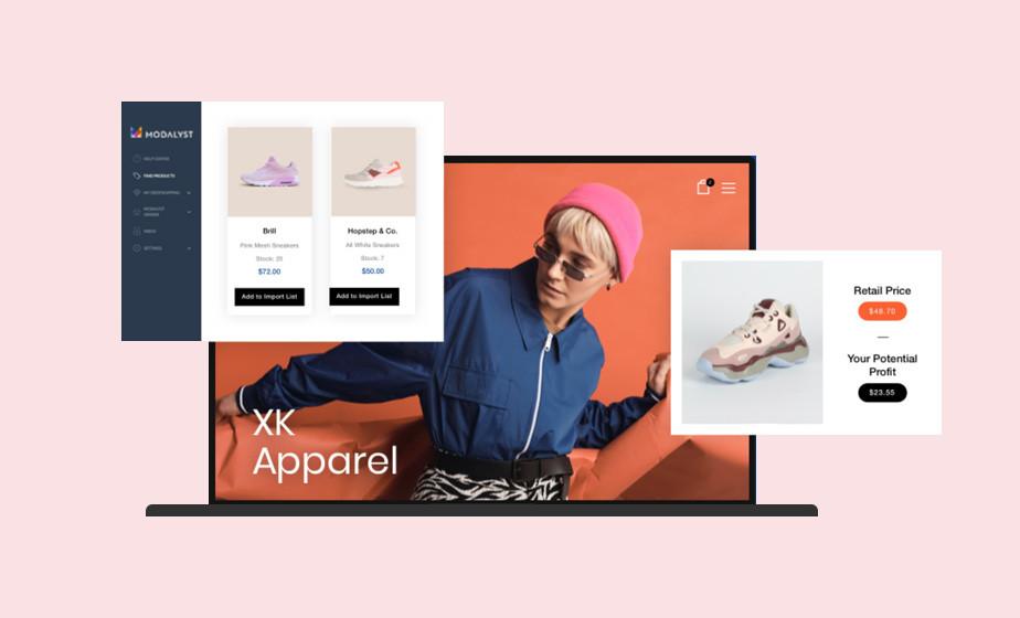 드롭쉬핑이 가능한 온라인 쇼핑몰의 신발 및 가격 이미지