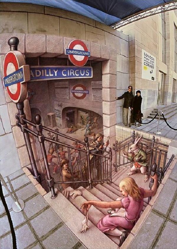 стрит-арт метро Picadilly Circus