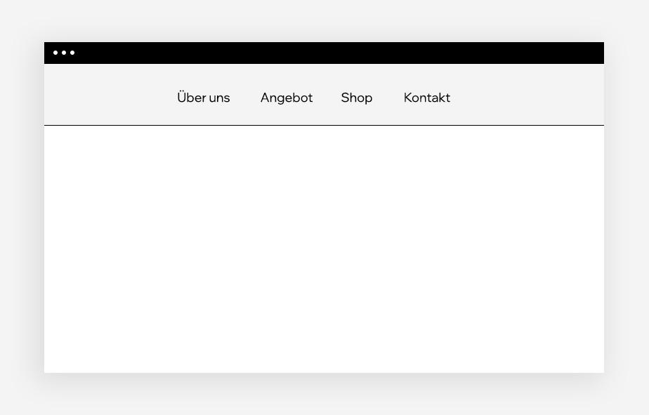 Ansicht eines klassischen Navigationsmenüs auf einem leeren Website-Mockup