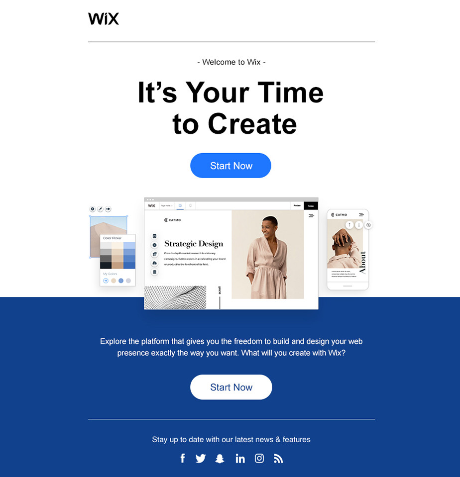 Welcome email by Wix