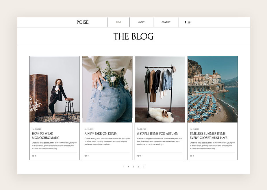 Ejemplo de un blog de moda