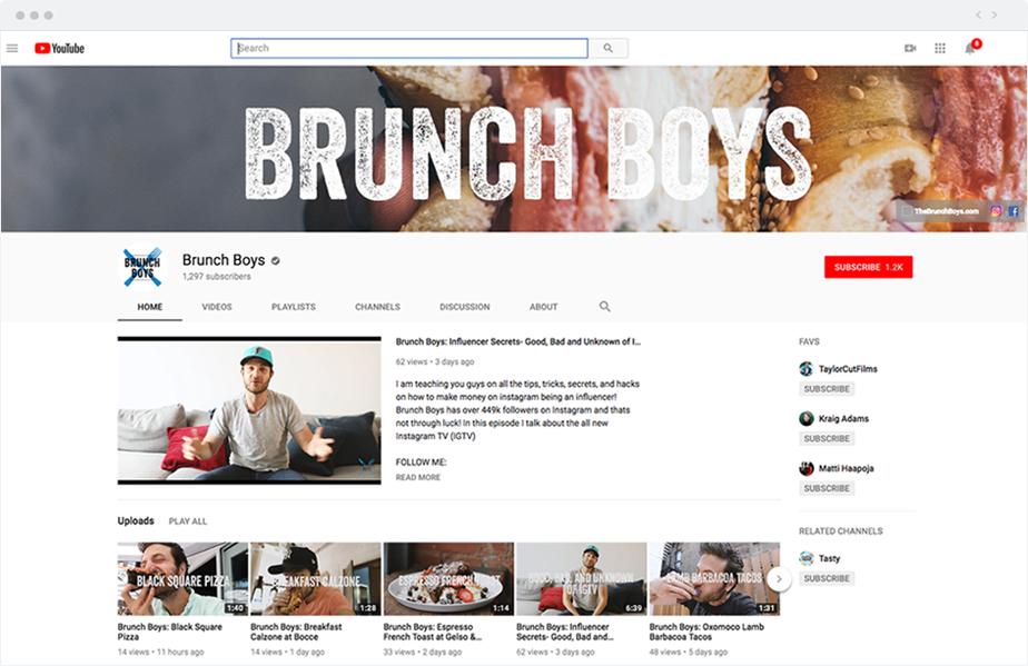 Esempio di un canale YouTube con miniature dei video