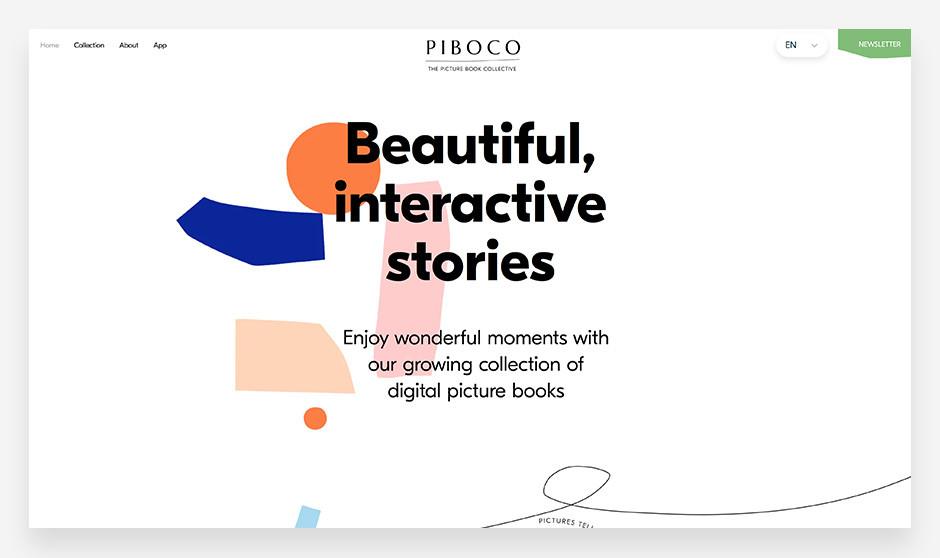 아름답게 소통하는 이야기 모토가 배치되어 있는 피보코의 웹사이트