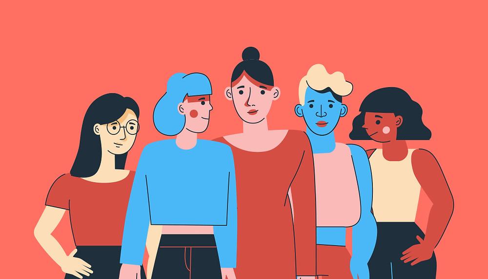 Een illustratie van verschillende vrouwen die naast elkaar staan
