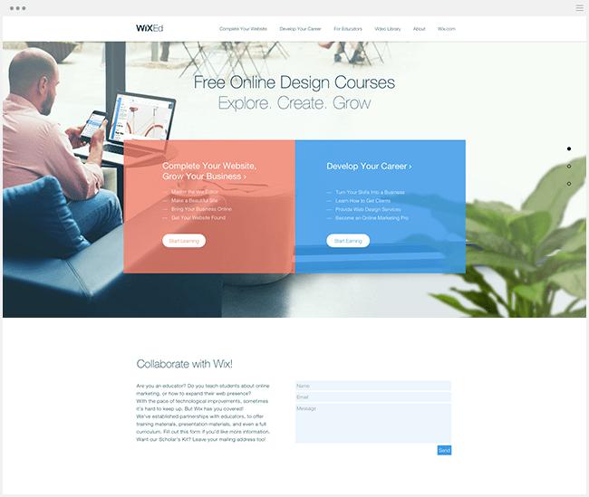 Wix Ed сайт для бесплатного обучения