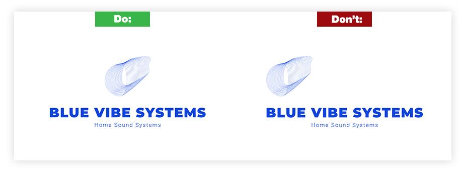 Ein Beispiel für ein gutes Logo und ein schlechtes Logo zum Thema Ausrichtung