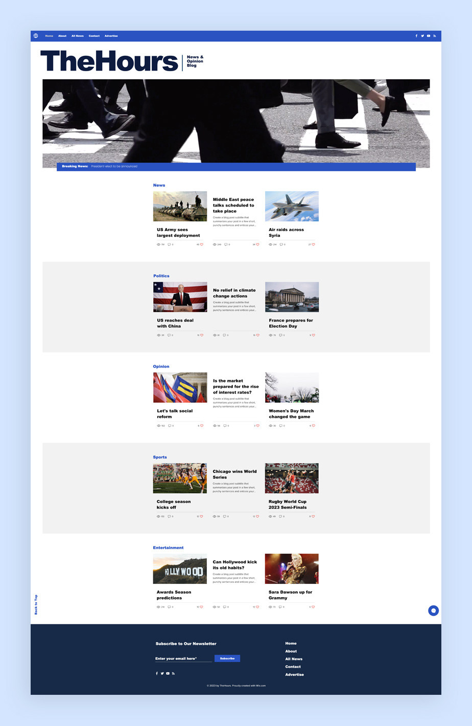 Plantilla de blog de noticias y actualidad