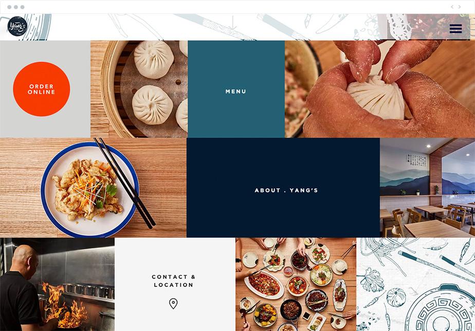 Menu di navigazione del sito web del ristorante Yang's Place