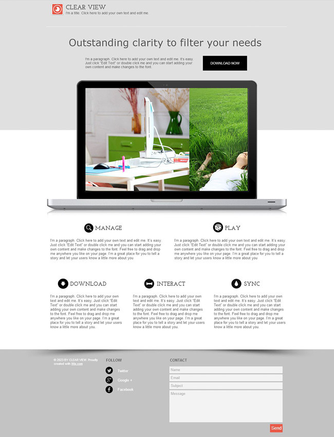 Template Wix : Clear View single-page