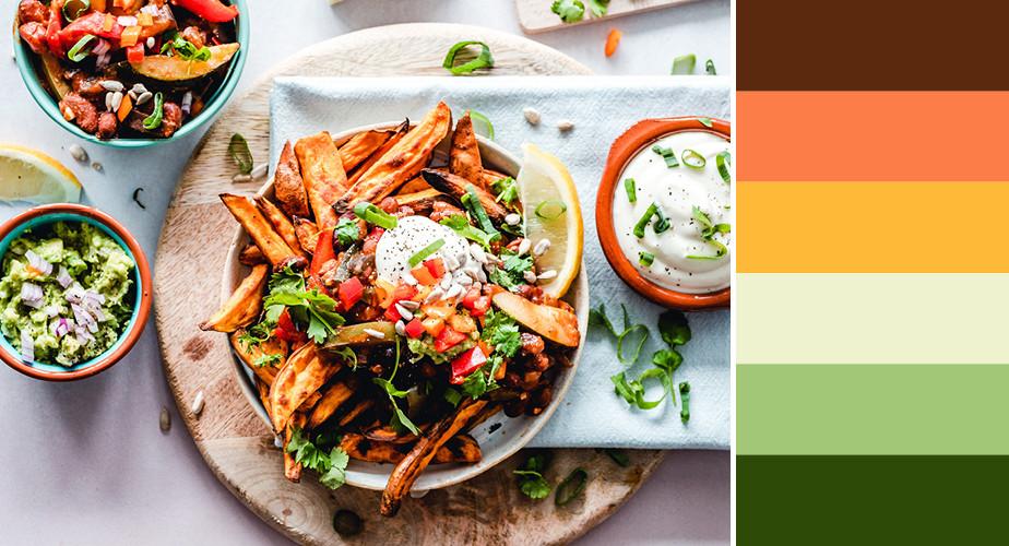 Paleta de cores que remetem ao ramo da alimentação