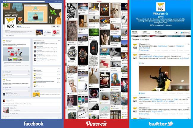 Image présentant côte à côte Facebook, Twitter et Pinterest