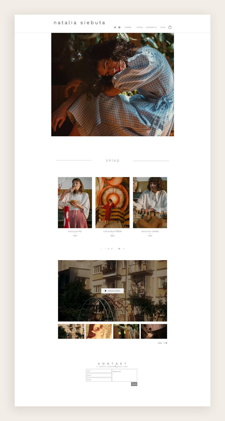 Sklep internetowy Wix Natalia Siebuła - projektantka mody