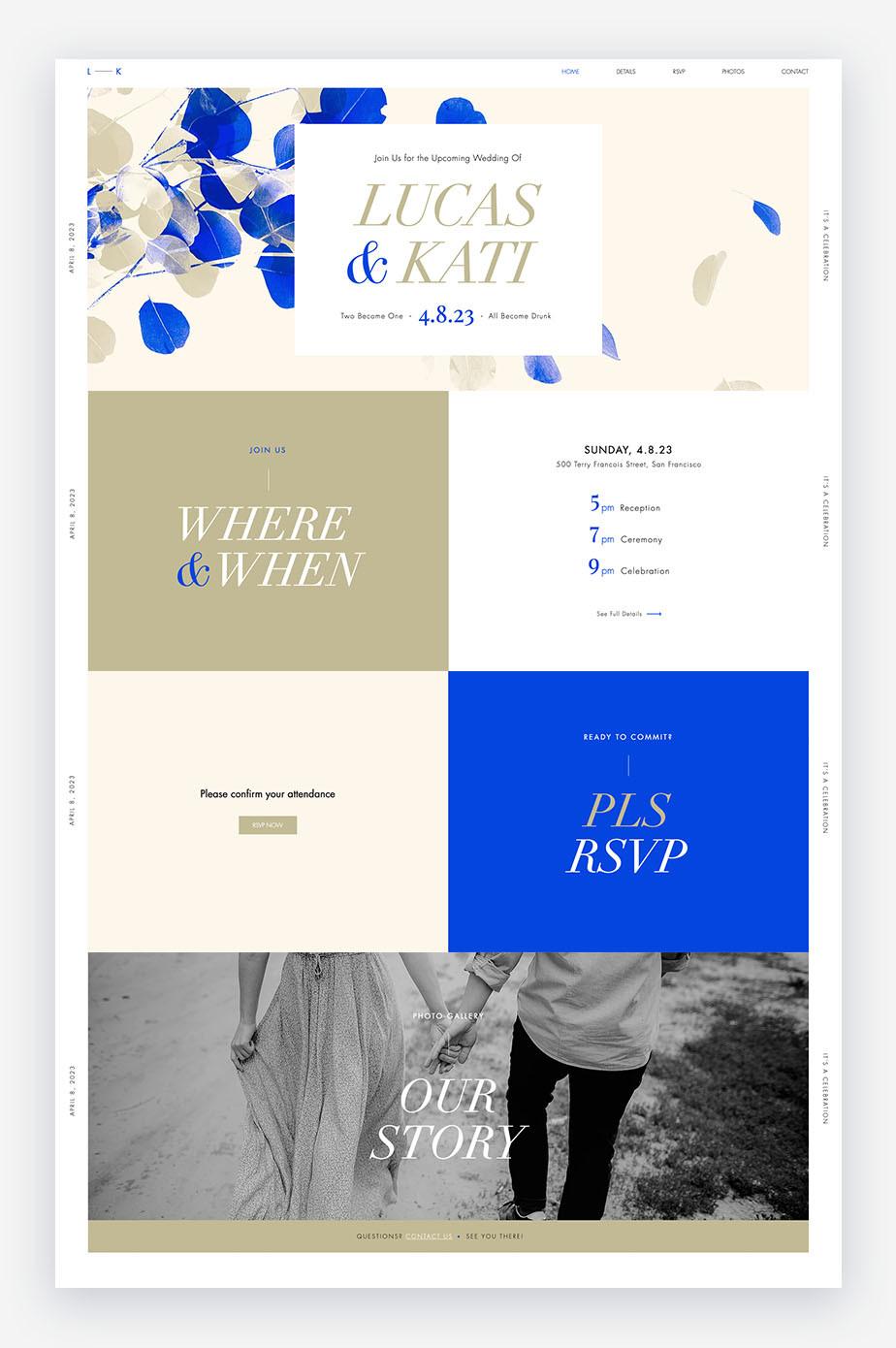 modelli di sito web di nozze in blu, bianco e marrone con fiori