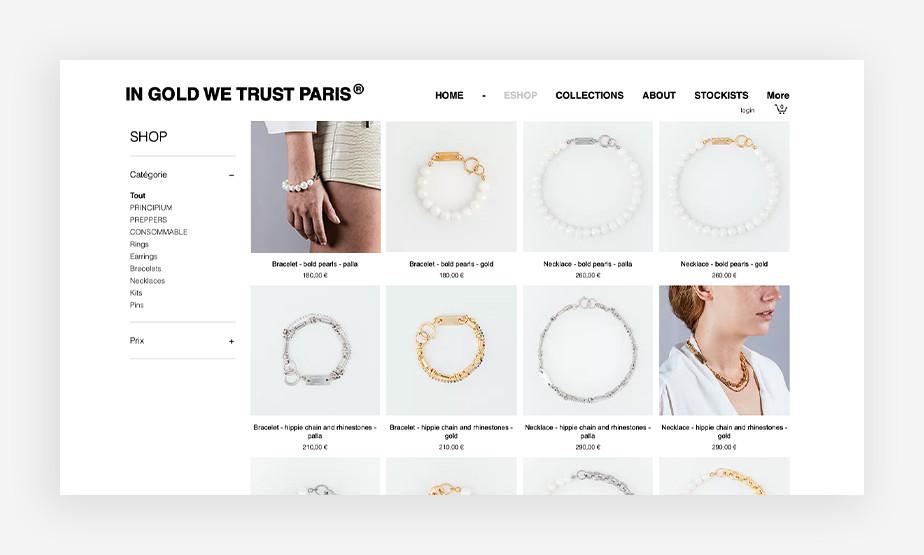 아름다운 쥬얼리를 간결하고 우아하게 디스플레이 한 인 가드 위 트러스트 웹사이트의 쇼핑 페이지