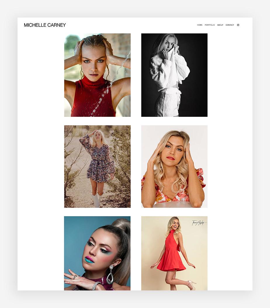 Ejemplo de portafolio digital de modelo de Michelle Carney