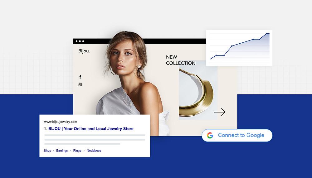 Featured Image von Wix mit Abbildung einer Frau und der SERP von Google
