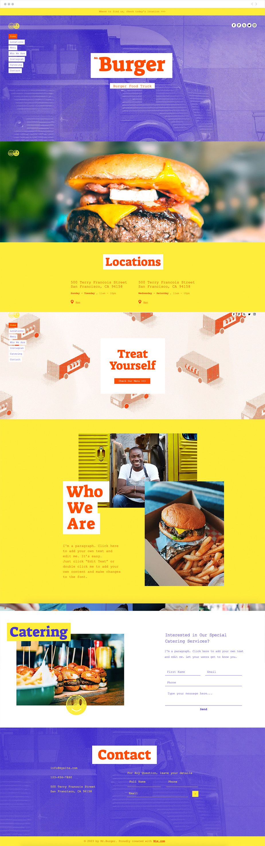 Template sito web food truck