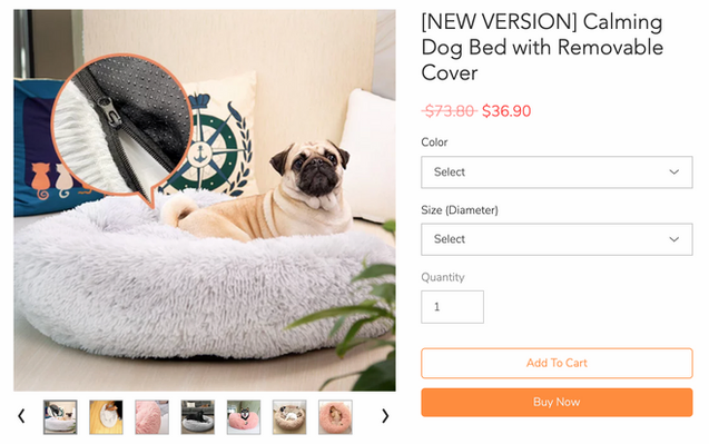 Abbsyspace pagina prodotto calmante letto per cani