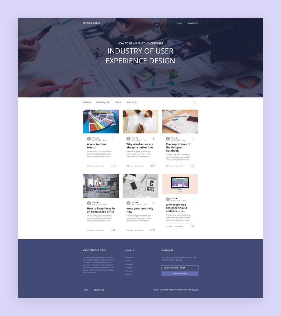 Blog Template von Wix für einen Designblog