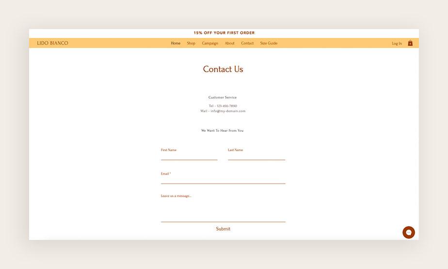 """Screenshot einer """"Kontakt""""-Seite"""
