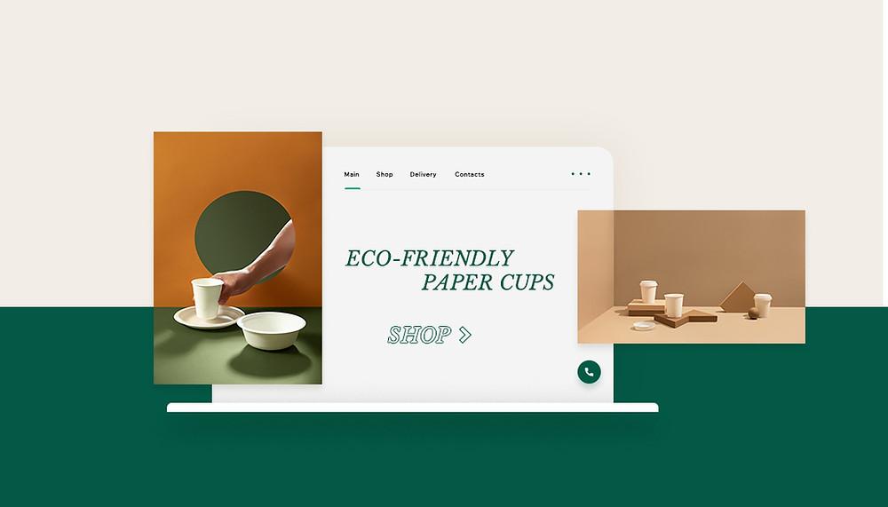 환경 친화적인 컵과 자연을 모티브로 한 깔끔한 식기 이미지