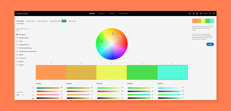 Free color palette generator Adobe Color