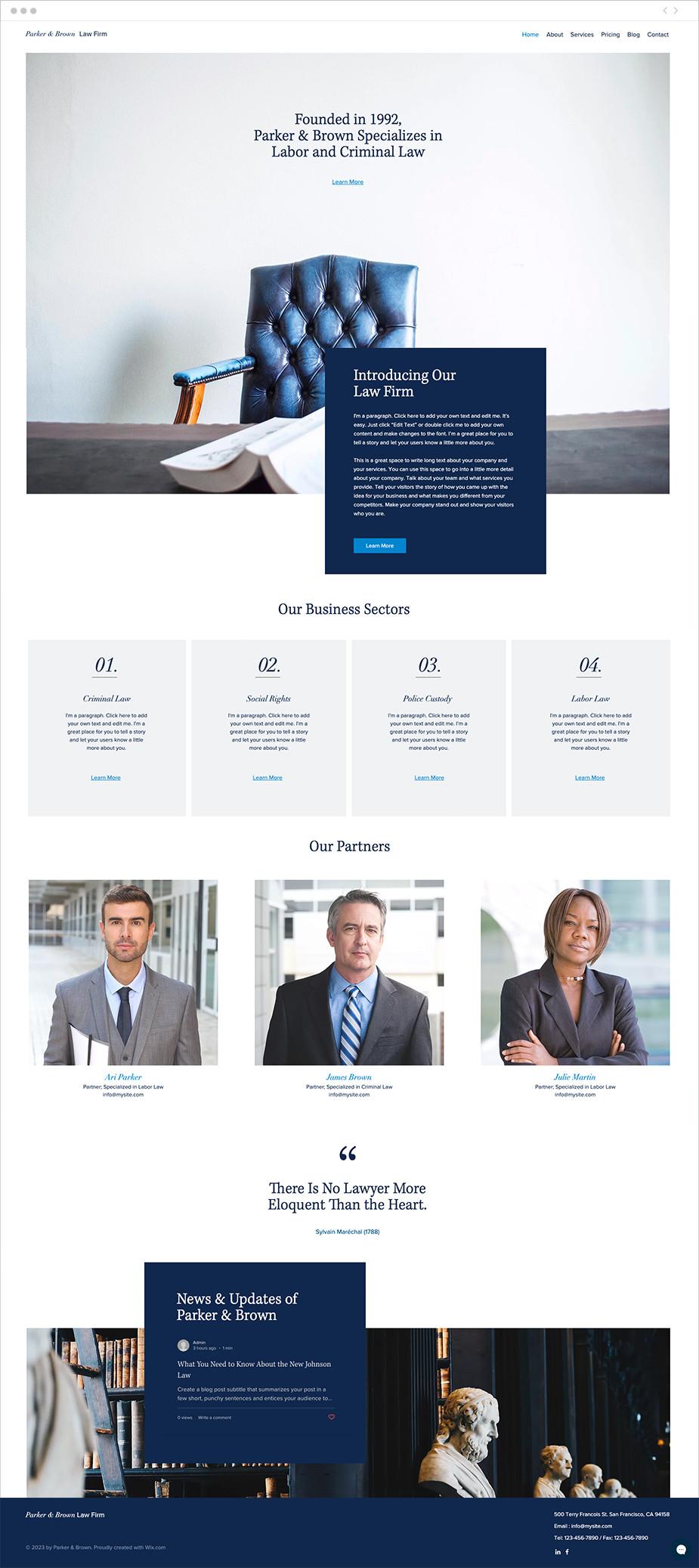 Template de site pour un cabinet d'avocats