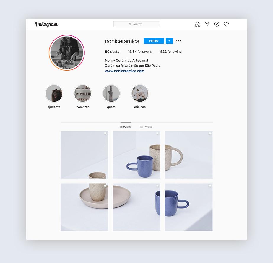 Лента профиля в instagram, посвященного керамике. Расположение фотографий в виде пазла.
