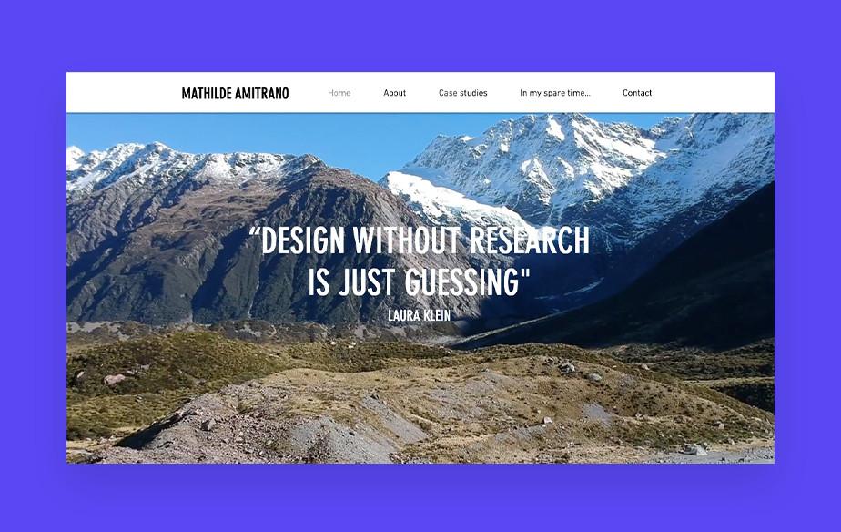 UX 디자이너인 마틸드 아미트라노의 포트폴리오 웹사이트 이미지