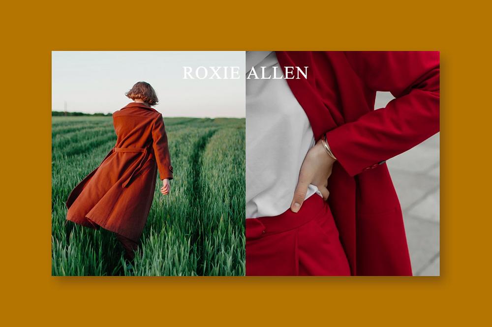 Portfolio Website; Bilder mit einer Frau, die einen roten Mantel trägt und durch ein grasgrünes Feld läuft