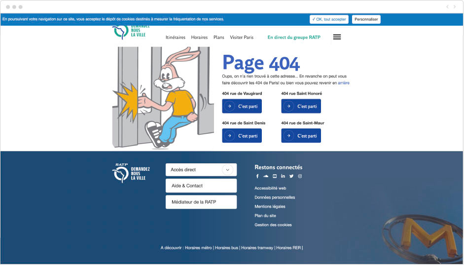 RATP - page erreur 404