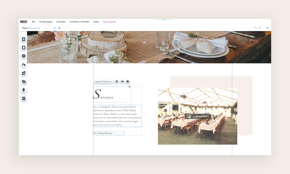 """Exemplo de página """"serviços"""" de um site pessoal em ambiente de edição"""