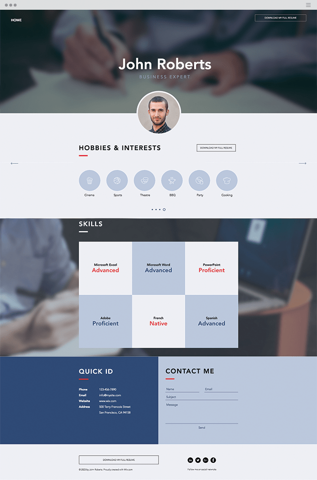 business cv website template
