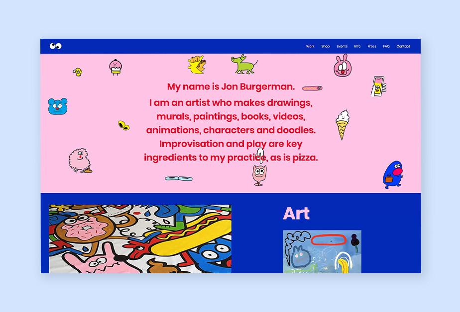 Website Beispiel mit Vektorgrafiken als Beispiel eines Trends im Webdesign