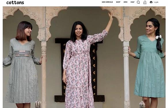 Главная страница сайта Cottons Jaipur